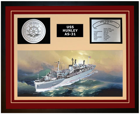 USS HUNLEY AS-31 Framed Navy Ship Display Burgundy