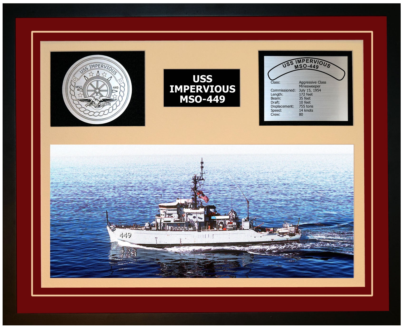 USS IMPERVIOUS MSO-449 Framed Navy Ship Display Burgundy