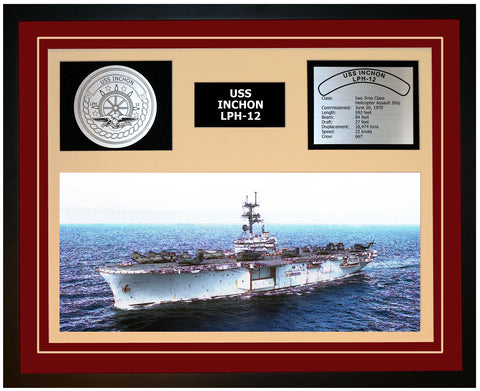 USS INCHON LPH-12 Framed Navy Ship Display Burgundy