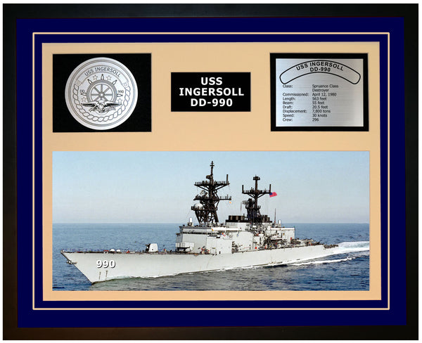 USS INGERSOLL DD-990 Framed Navy Ship Display Blue