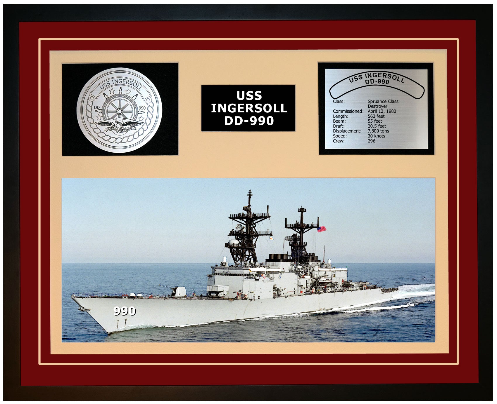 USS INGERSOLL DD-990 Framed Navy Ship Display Burgundy