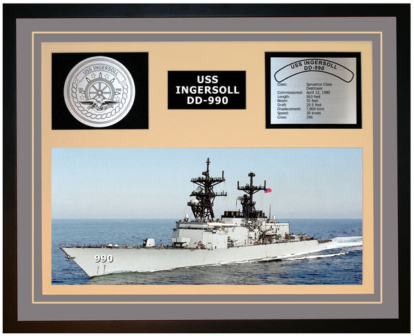 USS INGERSOLL DD-990 Framed Navy Ship Display Grey