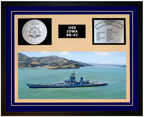 USS IOWA BB-61 Framed Navy Ship Display Blue