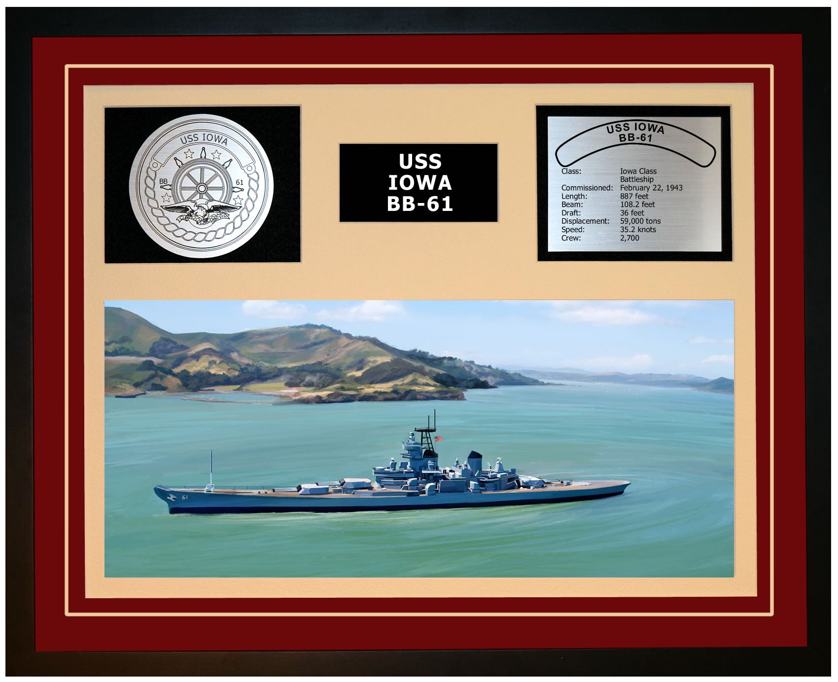 USS IOWA BB-61 Framed Navy Ship Display Burgundy