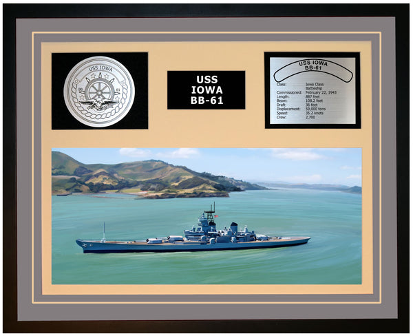 USS IOWA BB-61 Framed Navy Ship Display Grey