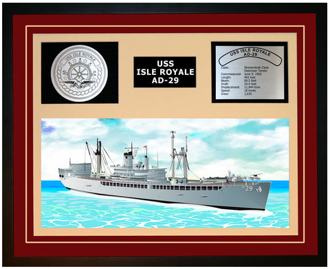 USS ISLE ROYALE AD-29 Framed Navy Ship Display Burgundy