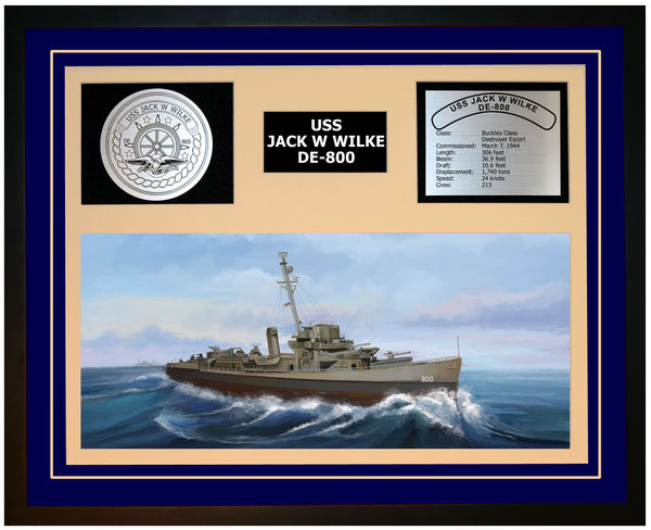 USS JACK W WILKE DE-800 Framed Navy Ship Display Blue