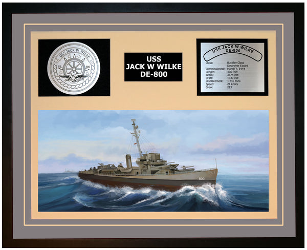 USS JACK W WILKE DE-800 Framed Navy Ship Display Grey