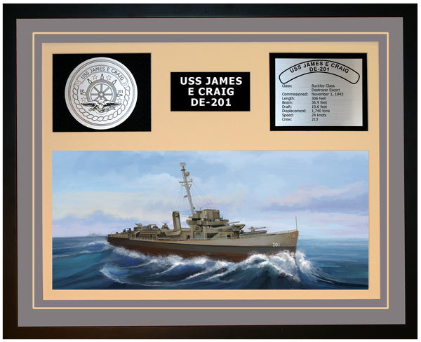 USS JAMES E CRAIG DE-201 Framed Navy Ship Display Grey