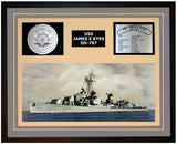 USS JAMES E KYES DD-787 Framed Navy Ship Display Grey
