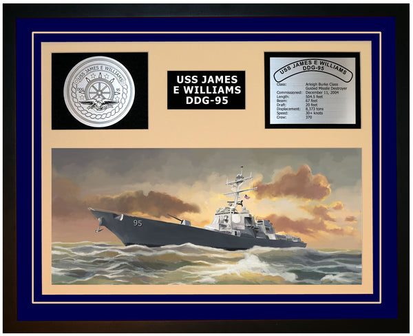 USS JAMES E WILLIAMS DDG-95 Framed Navy Ship Display Blue