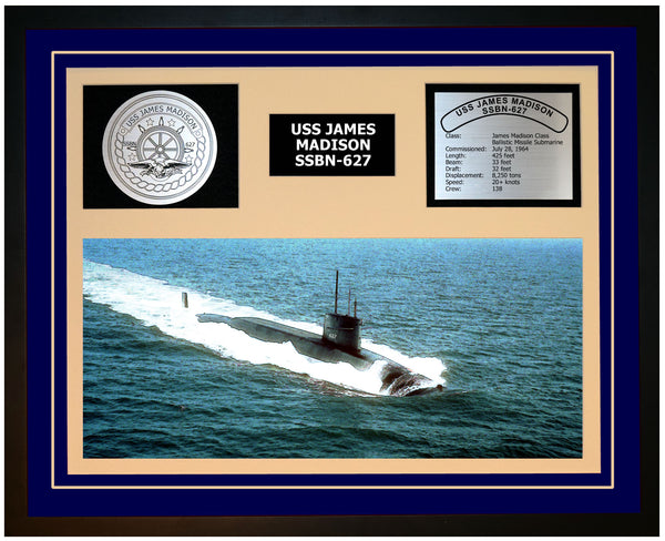 USS JAMES MADISON SSBN-627 Framed Navy Ship Display Blue