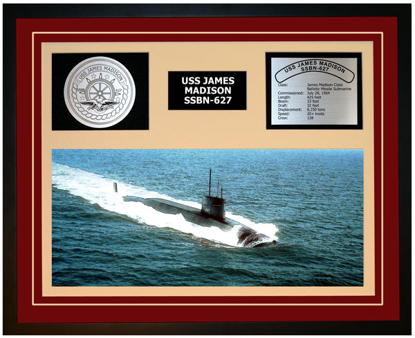 USS JAMES MADISON SSBN-627 Framed Navy Ship Display Burgundy