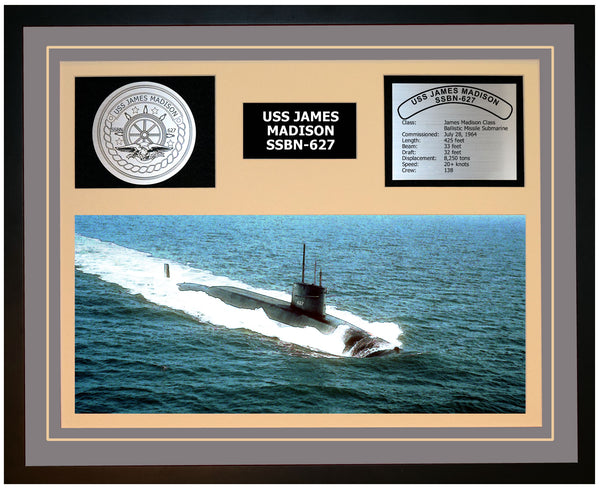 USS JAMES MADISON SSBN-627 Framed Navy Ship Display Grey