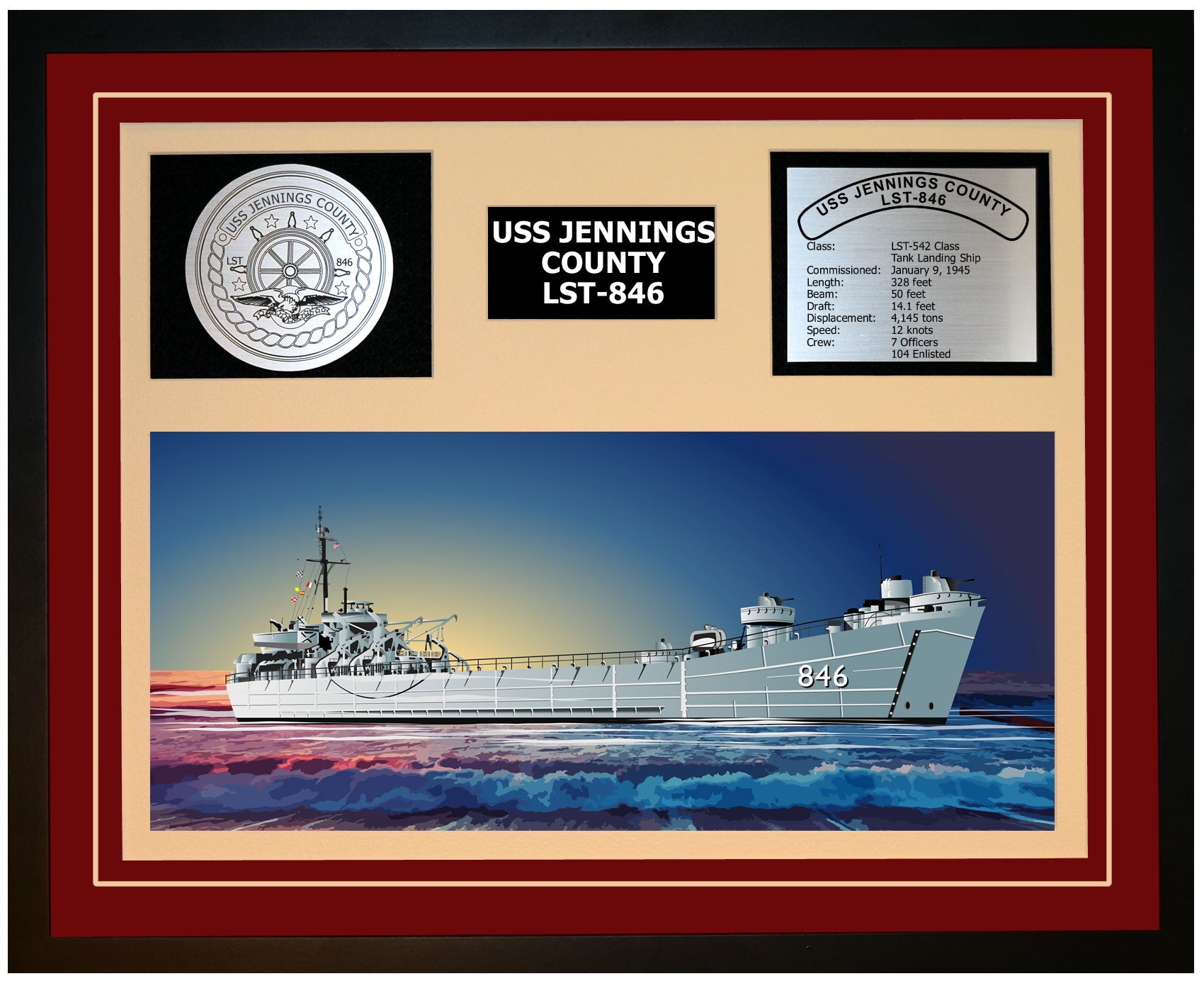 USS JENNINGS COUNTY LST-846 Framed Navy Ship Display Burgundy