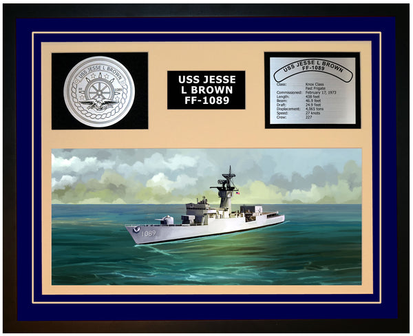 USS JESSE L BROWN FF-1089 Framed Navy Ship Display Blue