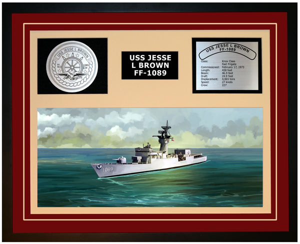 USS JESSE L BROWN FF-1089 Framed Navy Ship Display Burgundy