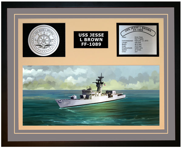 USS JESSE L BROWN FF-1089 Framed Navy Ship Display Grey