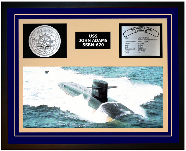 USS JOHN ADAMS SSBN-620 Framed Navy Ship Display Blue