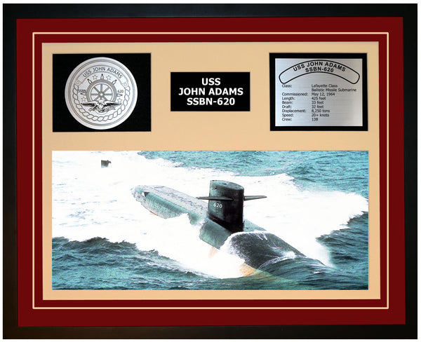 USS JOHN ADAMS SSBN-620 Framed Navy Ship Display Burgundy