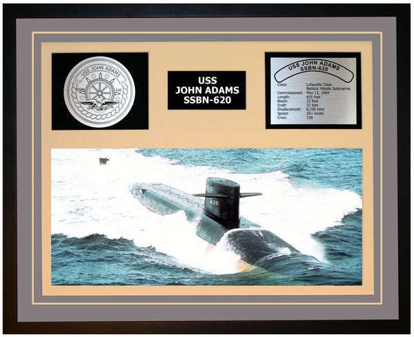 USS JOHN ADAMS SSBN-620 Framed Navy Ship Display Grey