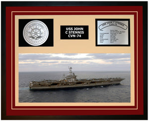 USS JOHN C STENNIS CVN-74 Framed Navy Ship Display Burgundy
