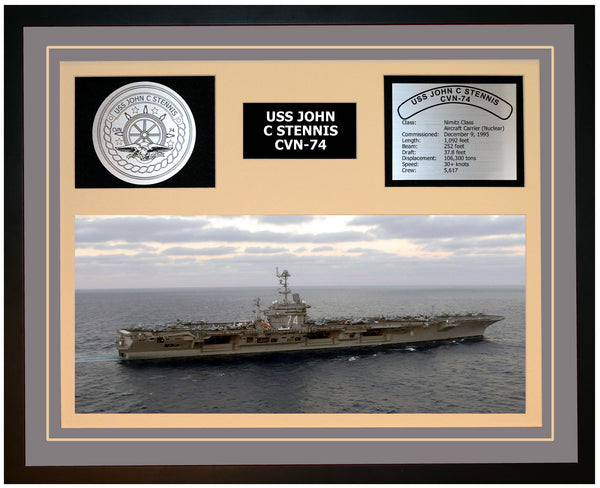 USS JOHN C STENNIS CVN-74 Framed Navy Ship Display Grey