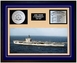 USS JOHN F KENNEDY CV-67 Framed Navy Ship Display Blue