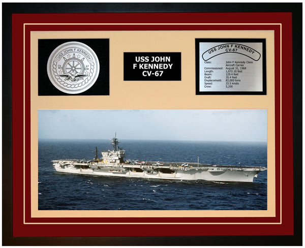 USS JOHN F KENNEDY CV-67 Framed Navy Ship Display Burgundy