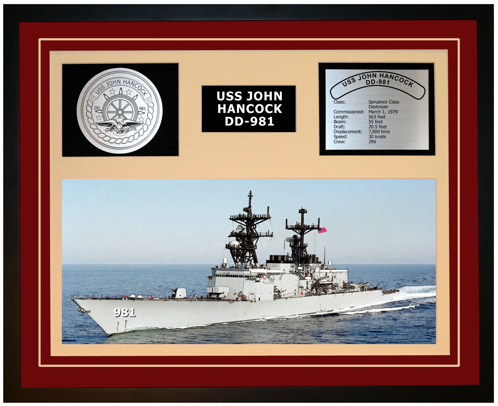 USS JOHN HANCOCK DD-981 Framed Navy Ship Display Burgundy