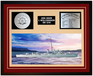 USS JOHN L WILLIAMSON DE-370 Framed Navy Ship Display Burgundy