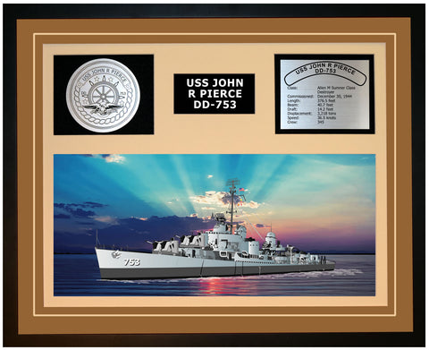 USS JOHN R PIERCE DD-753 Framed Navy Ship Display Brown