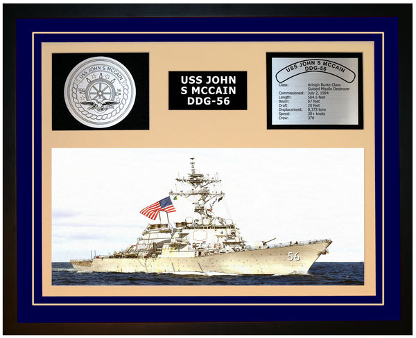 USS JOHN S MCCAIN DDG-56 Framed Navy Ship Display Blue