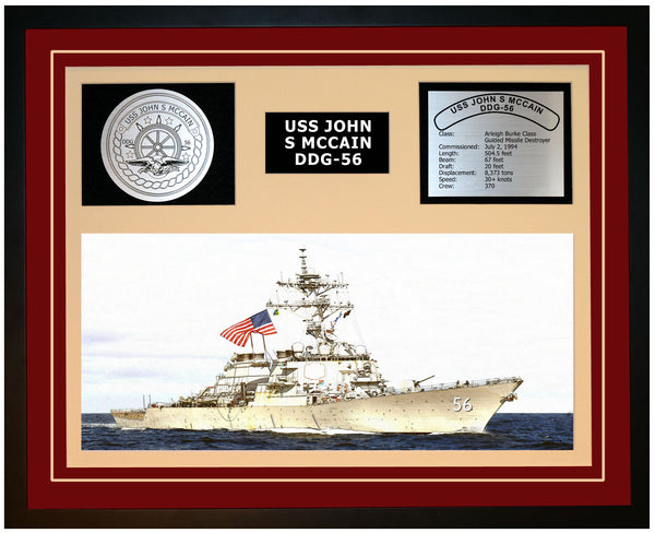 USS JOHN S MCCAIN DDG-56 Framed Navy Ship Display Burgundy