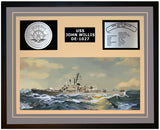 USS JOHN WILLIS DE-1027 Framed Navy Ship Display Grey
