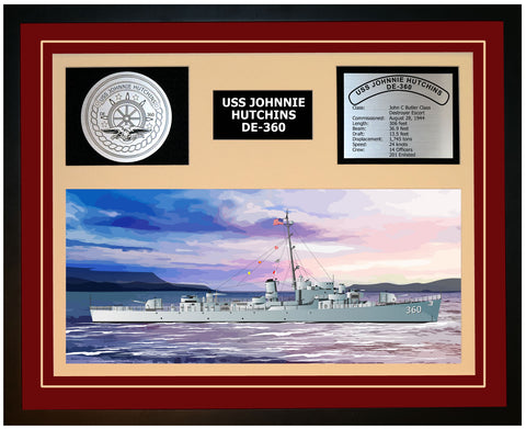 USS JOHNNIE HUTCHINS DE-360 Framed Navy Ship Display Burgundy