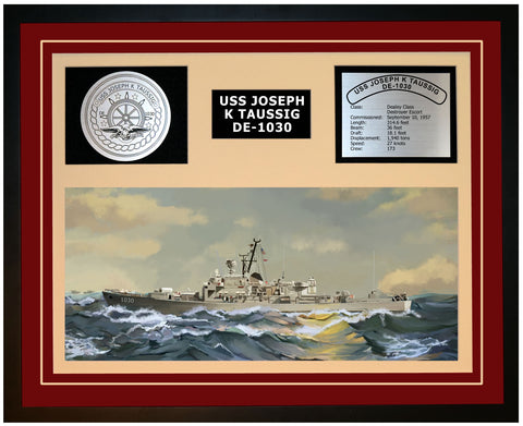 USS JOSEPH K TAUSSIG DE-1030 Framed Navy Ship Display Burgundy