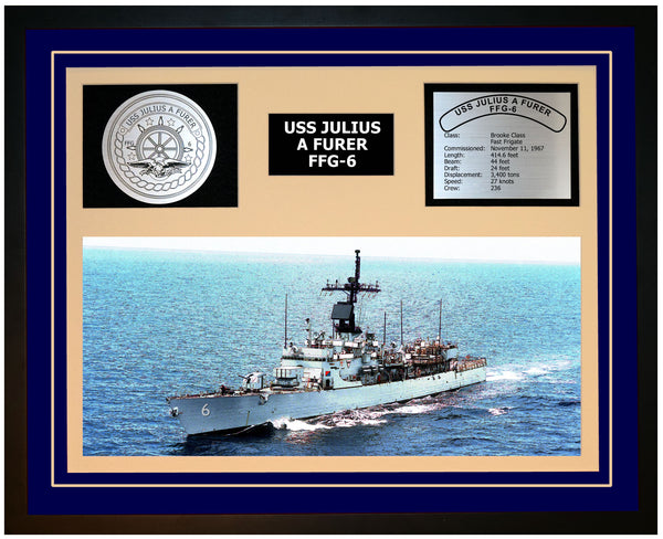 USS JULIUS A FURER FFG-6 Framed Navy Ship Display Blue