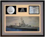 USS KALK DD-611 Framed Navy Ship Display Grey
