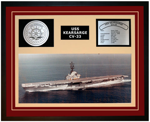 USS KEARSARGE CV-33 Framed Navy Ship Display Burgundy