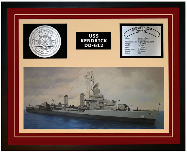 USS KENDRICK DD-612 Framed Navy Ship Display Burgundy