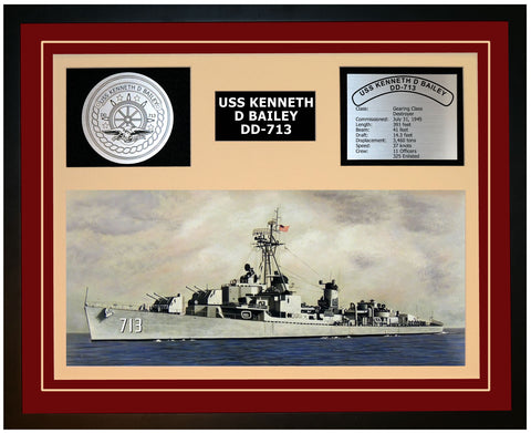 USS KENNETH D BAILEY DD-713 Framed Navy Ship Display Burgundy