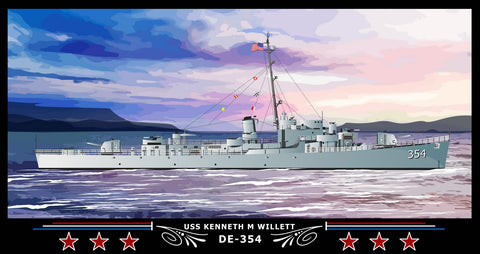 USS Kenneth M Willett DE-354 Art Print
