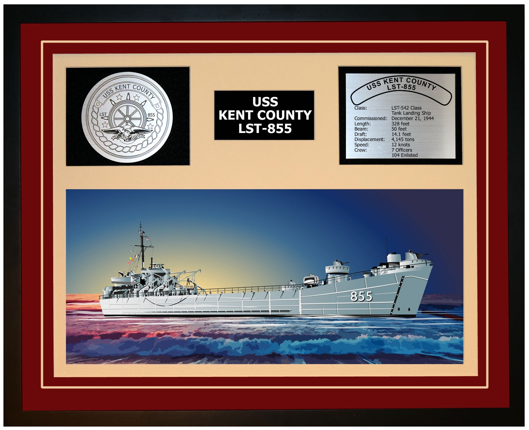USS KENT COUNTY LST-855 Framed Navy Ship Display Burgundy