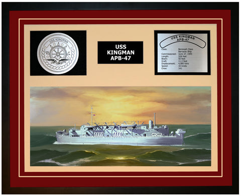 USS KINGMAN APB-47 Framed Navy Ship Display Burgundy