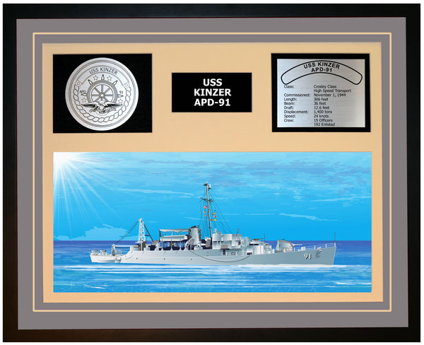 USS KINZER APD-91 Framed Navy Ship Display Grey