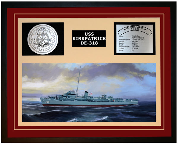 USS KIRKPATRICK DE-318 Framed Navy Ship Display Burgundy