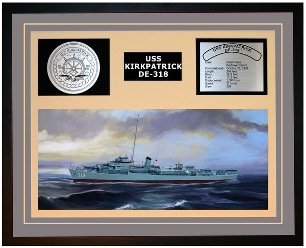 USS KIRKPATRICK DE-318 Framed Navy Ship Display Grey