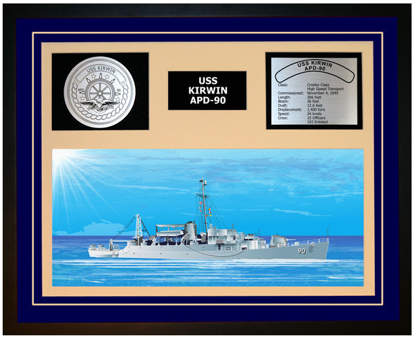 USS KIRWIN APD-90 Framed Navy Ship Display Blue