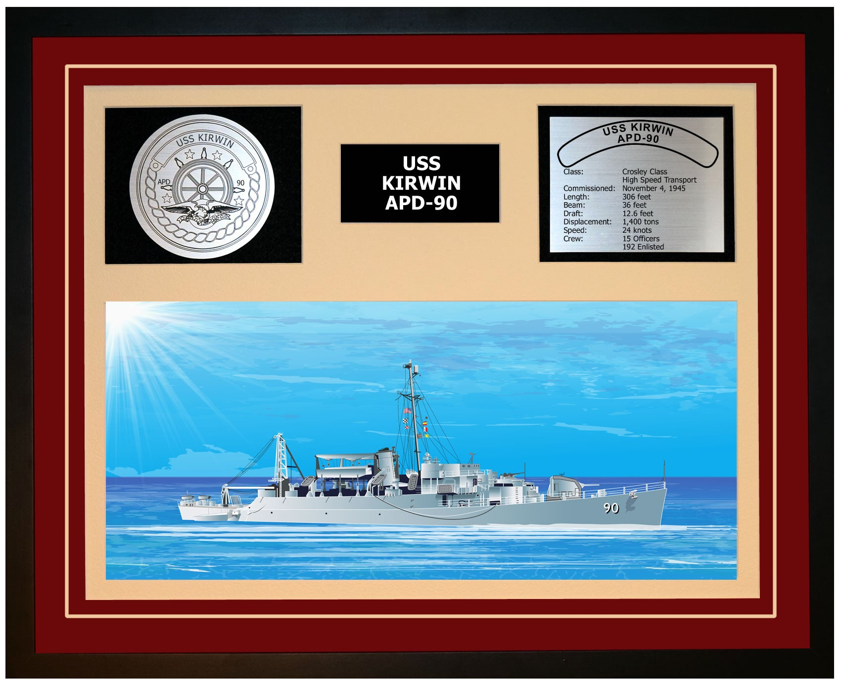 USS KIRWIN APD-90 Framed Navy Ship Display Burgundy